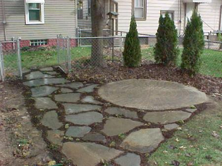 Circular Belgard Paver Patio With Irregular Pattern Flagstone