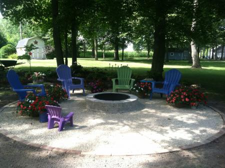 Fire Pit With Crushed Royal Brassfield Patio