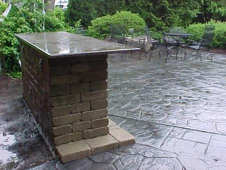 Superior Outdoor Bar   Unilock Wall Stone Complete With Granite Countertop