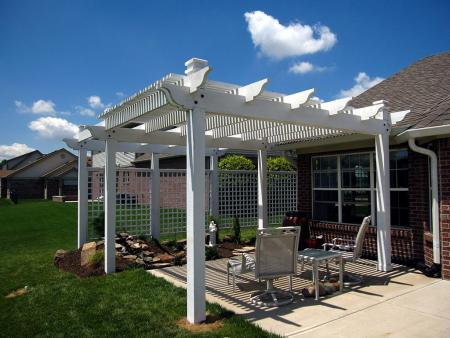 Elegant Pergola Over Patio For Sun Shade; Attached Screens For Privacy