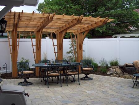 paver patio with pergola. Cantilever Pergola Over Unilock Paver Patio With